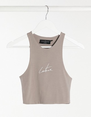 The Couture Club signature crop top in mink