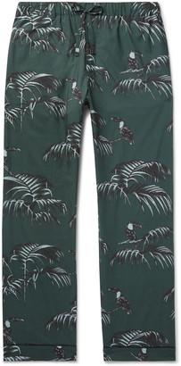 Desmond & Dempsey Printed Organic Cotton Pyjama Trousers - Men - Green