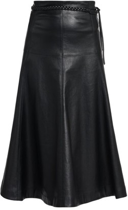 Valentino Leather Braided Belt Midi Skirt
