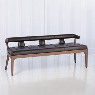 Global Views Genuine Leather Bench Color: Black
