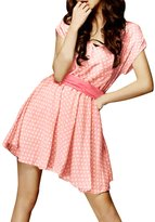 Allegra K Women Polka Dot Dresses Deep V Neck Wedding Sashes Mini Dress
