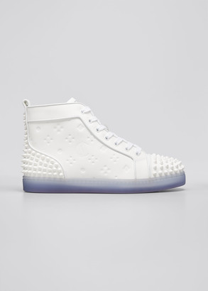 Christian Louboutin Men's Lou Spikes 2 High-Top Clear-Sole Sneakers