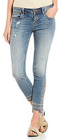 Miss Me Distressed Stretch Embroidered Step Hem Ankle Skinny Jeans
