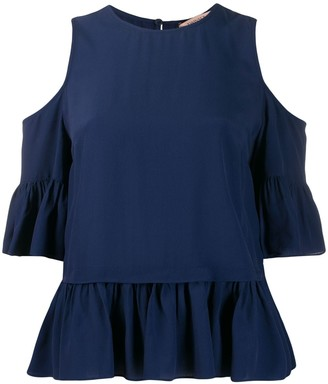 Twin-Set ruffled cut-out blouse