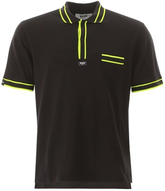 MSGM POLO SHIRT WITH NEON PIPING L Black, Yellow Cotton
