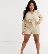 In The Style Plus In The Style x Dani Dyer Plus long sleeve corduroy romper in cream