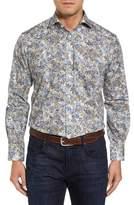 Thomas Dean Men's Regular Fit Print Sport Shirt