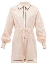 Emilia Wickstead Blossom Striped Cotton-poplin Pyjama Playsuit - Womens - Pink