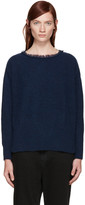 Y's Blue Fringed Collar Sweater