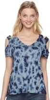 Rock & Republic Women's Tie-Dye Cold-Shoulder Tee