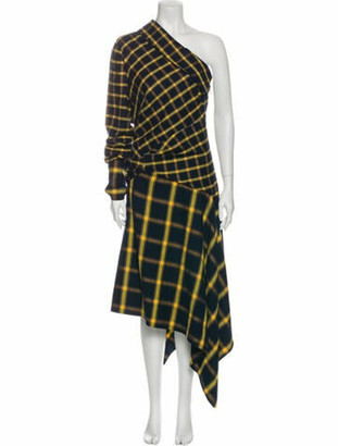 Monse Plaid Print Long Dress w/ Tags Blue