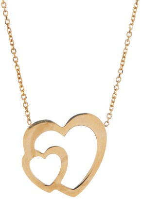 Candela 10K Yellow Gold Double Heart Pendant Necklace