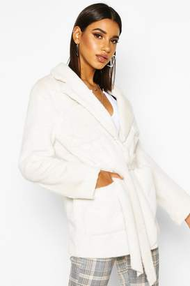 boohoo Faux Suede Lined Faux Fur Belted Wrap Coat
