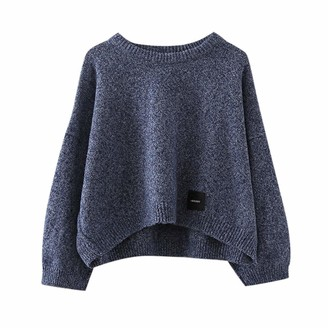 Aiserkly Ladies Baggy Long Sleeve Knitted Plain Chunky Top Sweater Jumper Womens Loose Casual Jumper Hoodies Sweatshirts Navy Free Size