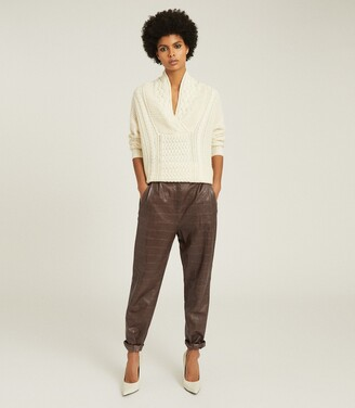 Reiss Oskia - Leather Crocodile Patterned Trousers in Mushroom
