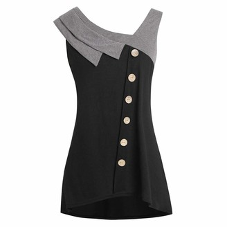 Yusealia Women Blouse Yusealia Women Tank Tops Plus Size Clearance Ladies Casual Skew Neck Asymmetric Vest Blouse Loose Comfy Sleeveless Button Camis T Shirts Summer Clothes Tunic Top Black