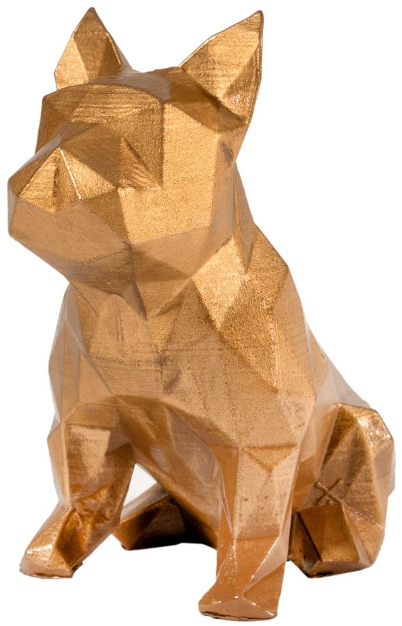Marokka Design French Bulldog Geometric Sculpture - Frank In Metallic Aztec Gold