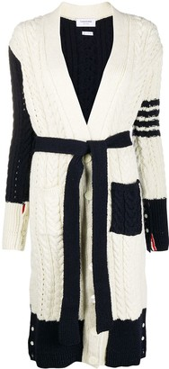 Thom Browne 4-Bar V-neck cardi-coat