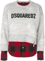 DSQUARED2 contrast hem logo sweatshirt - women - Cotton/Wool - XS
