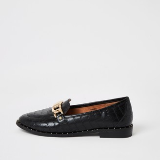 River Island Womens Black croc embossed studded loafers