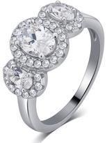 Ice 0.50 CT TW Cubic Zirconia 3 Cluster Ring In Silver