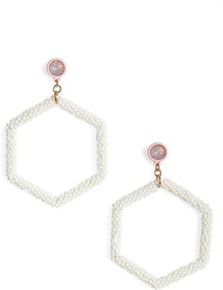 BP Beaded Hexagon Hoop Earrings