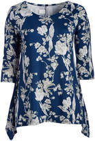 Glam Blue & White Floral Sidetail Top - Plus