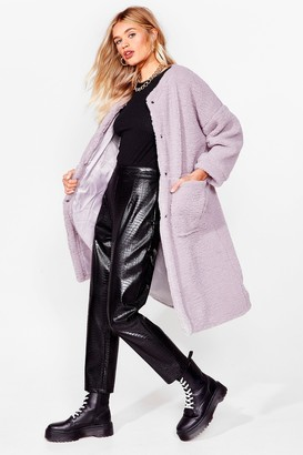 Nasty Gal Womens Teddy and Raring to Go Faux Shearling Coat - Lavender