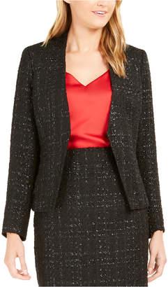 Calvin Klein Metallic Tweed Open-Front Blazer