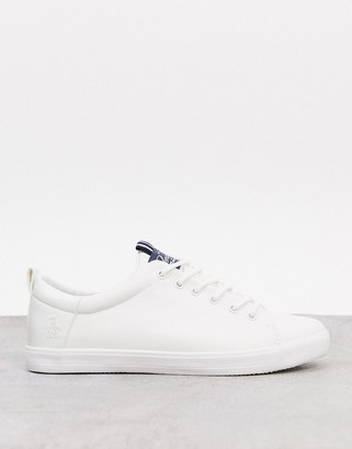 Original Penguin minimal lace up sneakers in white