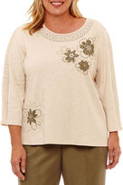 Alfred Dunner Palm Desert 3/4 Sleeve Crochet T-Shirt-Womens Plus