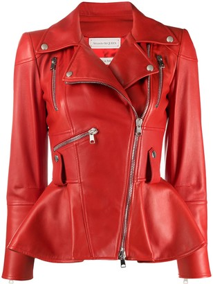 Alexander McQueen Peplum Hem Biker Jacket