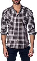 Jared Lang Semifitted Plaid Sport Shirt, Brown