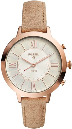 Fossil Q Women's Jacqueline Stainless Steel and Leather Hybrid Smartwatch Color: Rose Gold-Tone Beige (Model: FTW5013)