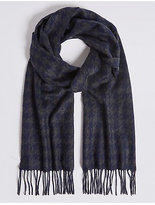 M&S Collection Dogtooth Pure Cashmere Woven Scarf