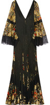 Roberto Cavalli Fringed Lace-paneled Metallic Fil Coupé Gown - Black