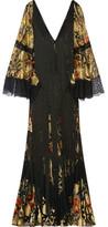 Roberto Cavalli Fringed Lace-paneled Metallic Fil Coupé Gown - Black