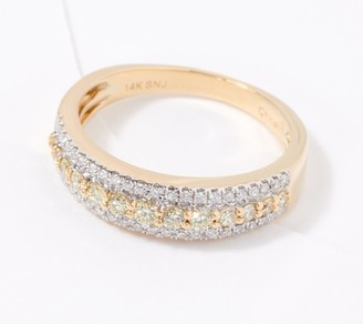 Affinity Diamond Jewelry Affinity 14K Gold Natural Pink or Yellow Diamond Ring, 1/2cttw
