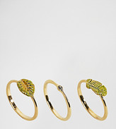 Bill Skinner Gold Plated Tropical Leaf Stacking Ring