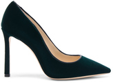 Jimmy Choo Velvet Romy Heels in Green.