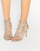 Aldo Norta Silver Heeled Cut Out Embellished Sandals