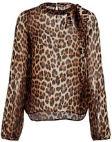 No.21 No. 21 Silk Leopard Balloon Sleeve Blouse