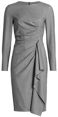 Max Mara Draped Long Sleeve Sheath Dress
