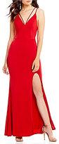 Jodi Kristopher Plunging-V-Neck Long Dress