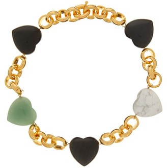 Timeless Pearly Heart-charm 24kt Gold-plated Choker - Gold