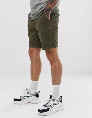 Asos Design DESIGN relaxed shorts with front crease in khaki-Green