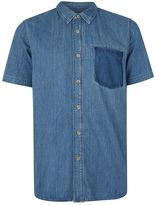 Topman Blue Patch Pocket Short Sleeve Denim Shirt