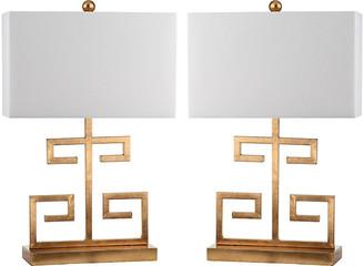 One Kings Lane Set of 2 Greek Key Table Lamps - Gold