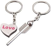 Imixshopcs Fashion Silver Letter Heart Daddy Daughter Keychain Key Ring Necklace