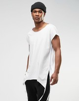 Asos Oversized Sleeveless T-Shirt With Shaped Hem Side Splits and Taping